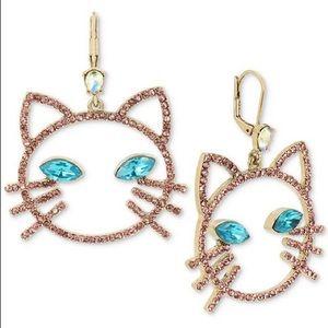 Betsey Johnson Pavé & Stone Cat Head Drop Earrings